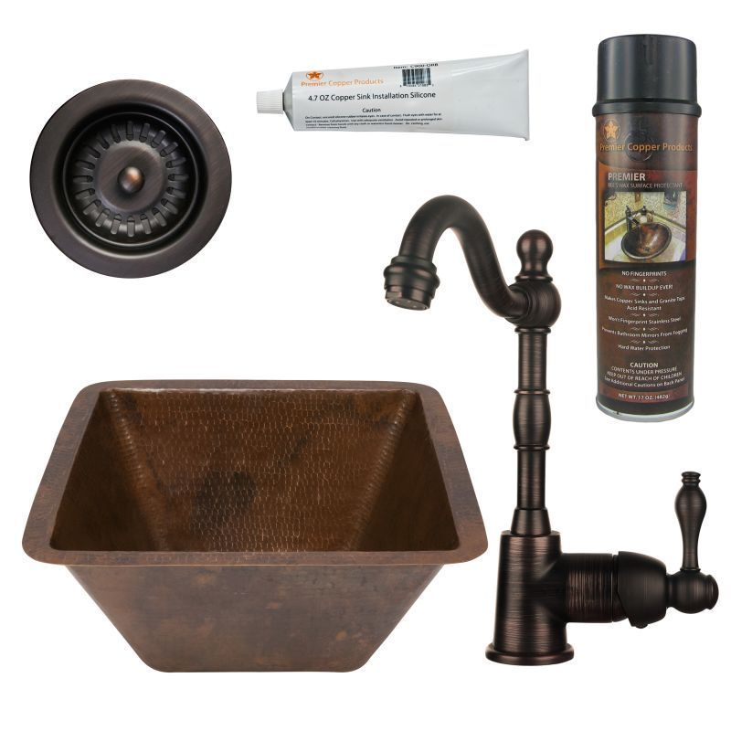 Premier Copper Products BSP4_BS15DB3 D Bar/ Prep Sink, Faucet And  Accessories Package