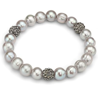 DaVonna Grey Freshwater Pearl and Cubic Zirconia Balls Stretch Bracelet (8-9 mm)