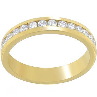 18k Yellow Gold 1/2ct TDW Round-cut Diamond Channel Band (H-I, SI1-SI2)
