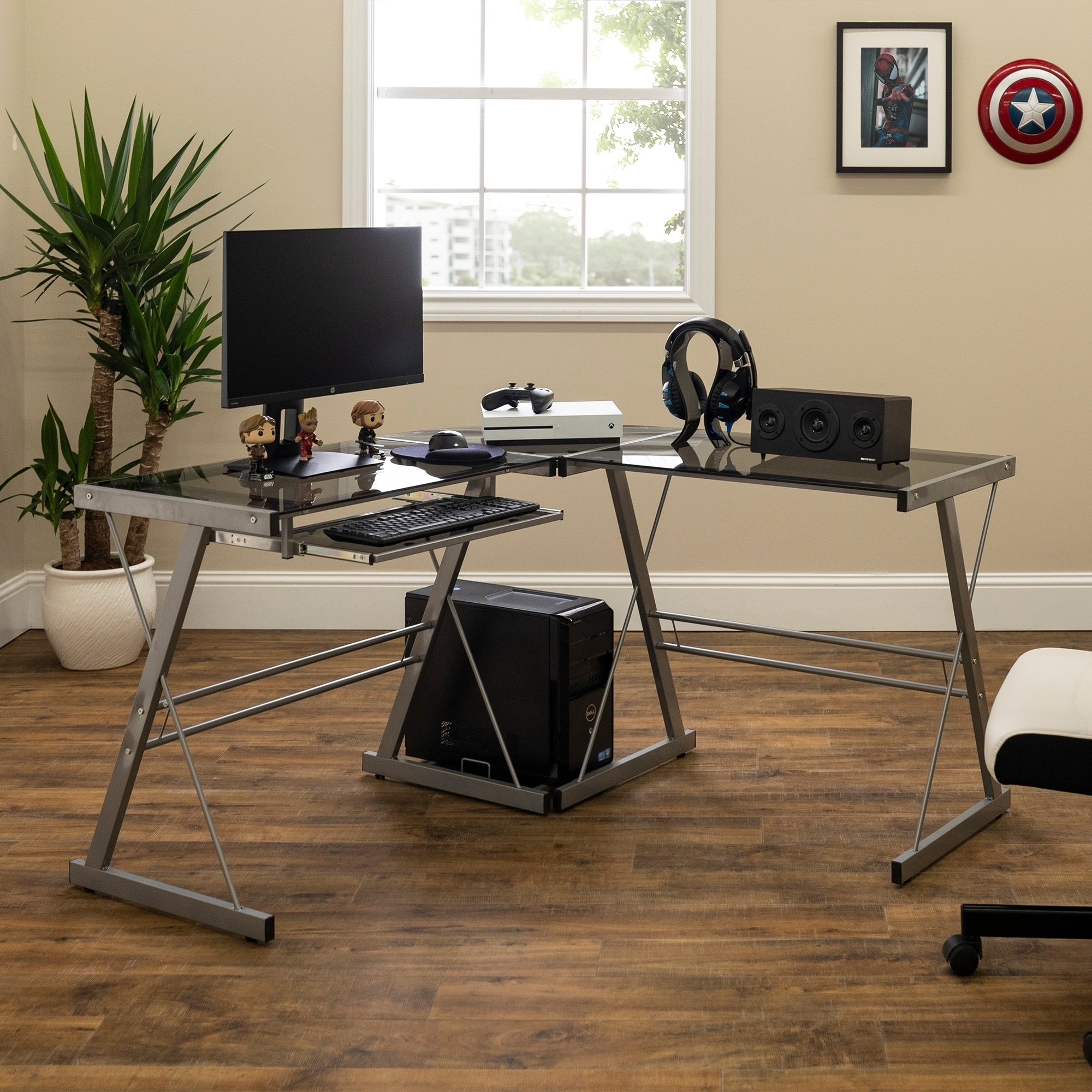 Office Glass and Metal L-shaped Computer Desk (3-Piece Co...