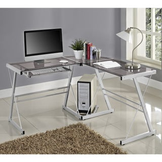Office Glass and Metal L-shaped Computer Desk