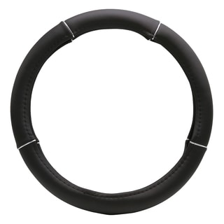 "Fit 15"" Black Silver Ring Steering Wheel Cover"