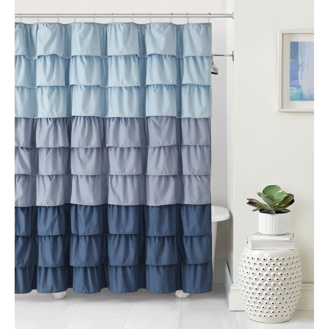 Vcny Sally Ruffle Shower Curtain 4 Colors Available