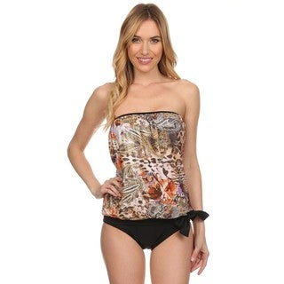 Dippin' Daisy's Brown Abstract Bandeau Blouson Tie Tankini