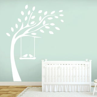 Tree with Birds On Swing Wall Decal 52-inch Wide x 72-inch Tall