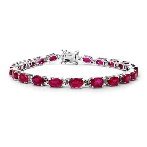 Olivia Leone 15.12 Carat Created Ruby .925 Sterling Silver Bracelet