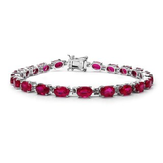 Olivia Leone 15.12 Carat Created Ruby .925 Sterling Silver Bracelet