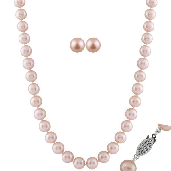 Rhodium-plated Sterling Silver Pink Freshwater Pearl Set