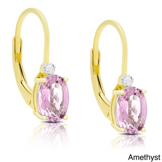 Dolce Giavonna Gold Over Sterling Silver Gemstone and Diamond Accent Birthstone Dangle Earrings (Option: Purple - Amethyst - Purple - February)
