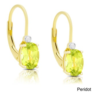 Dolce Giavonna Gold Over Sterling Silver Gemstone and Diamond Accent Birthstone Dangle Earrings (More options available)