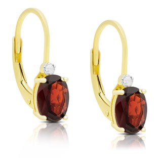 Dolce Giavonna Gold Over Sterling Silver Gemstone and Diamond Accent Birthstone Dangle Earrings (Option: February)