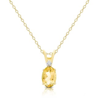 Dolce Giavonna Gold Over Sterling Silver Gemstone Birthstone and Diamond Acent Oval Necklace (More options available)