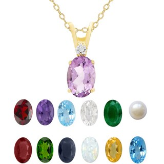 Dolce Giavonna Gold Over Sterling Silver Gemstone Birthstone and Diamond Acent Oval Necklace (3 options available)