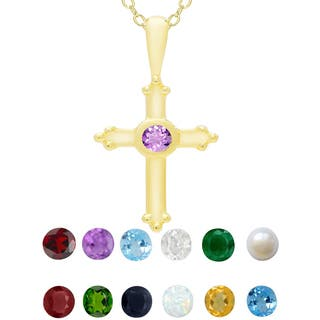 Dolce Giavonna Gold Over Sterling Silver Gemstone Birthstone Cross Necklace (Option: Pink)|https://ak1.ostkcdn.com/images/products/11167442/P18162146.jpg?impolicy=medium