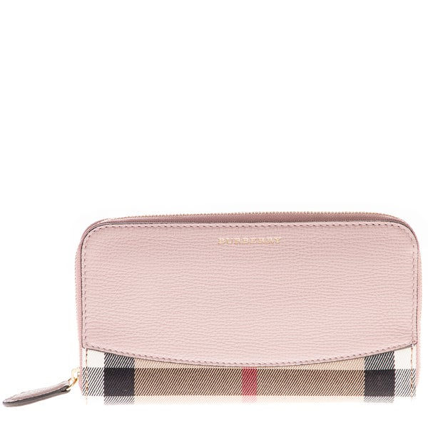 Burberry Embossed Leather Zip Around Wallet: Shop Burberry House Check And Pink Leather Zip-Around