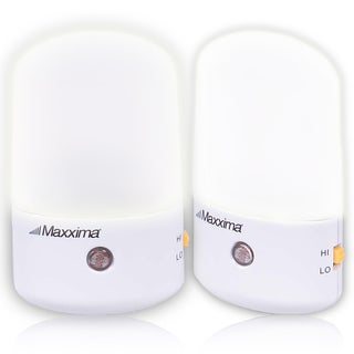 Maxxima LED Night Light with White Lens Hi/Lo Switch Dusk to Dawn Sensor (Pack of 2)