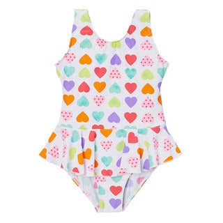 Dippin' Daisy's Girls' White Hearts One Piece Swimdress
