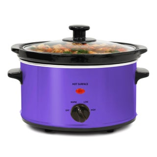 Stainless Steel 2-quart Oval Slow Cooker with 3 Heat Settings (Option: Purple)