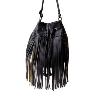 Olivia Miller 'Zulay' Mini Fringe Drawstring Bucket Handbag