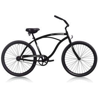 Men'sTouch 26-inch Matte Black Beach Cruiser