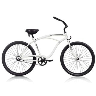 Men'sTouch 26-inch Matte White Beach Cruiser