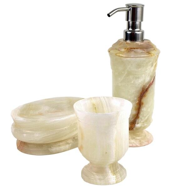 White Onyx Bathroom Accessory 3-Piece Set