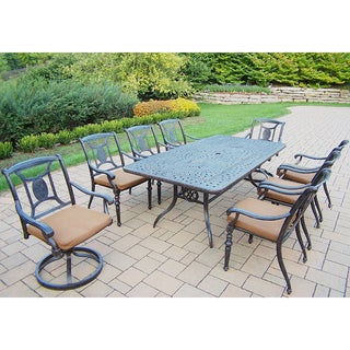 Dining Set with Rectangle Table, 6 Chairs, 2 Swivel Rockers, cushions