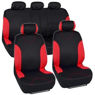 BDK Car Seat Covers Red Split Option And Side Air Bag Safe