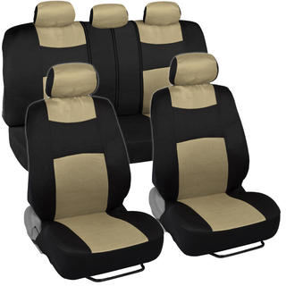 Fresh-Mesh Seat Covers Set Gold Beige Netting on Black Polyester with Breathable Knit Mesh Panel Accents