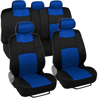 Fresh-Mesh Seat Covers Set Cool Blue and Black Polyester with Breathable Knit Mesh Comfort