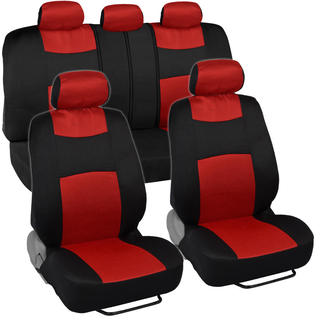 Fresh-Mesh Seat Covers Set Red and Black Polyester with Breathable Knit Mesh Comfort