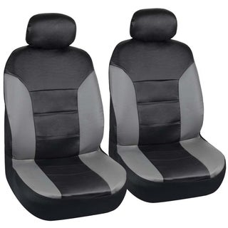 Motor Trend Two Tone PU Leather Car Seat Covers Black Classic Accent Grey Sides Premium Leatherette Front Pair