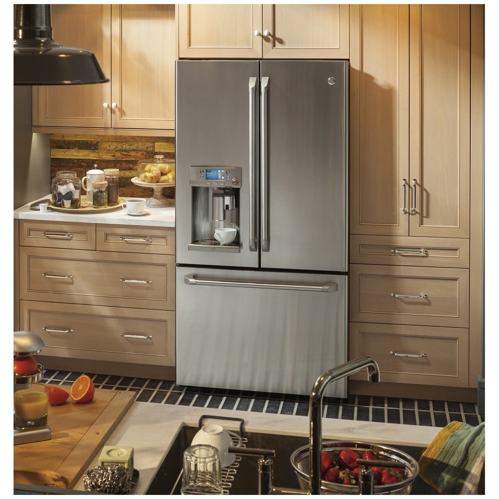 Amazing GE Cafe Series 22.2 Cubic Foot Counter Depth French Door Refrigerator