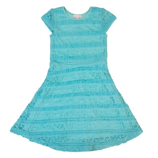 DownEast Basics Girls' Knee Length Lace Dress with Cap Sleeves