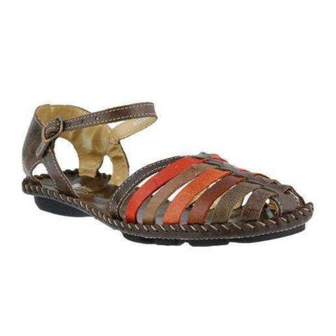 Womens Spring Step Chilton Closed Toe Sandal Brown Multi Leather