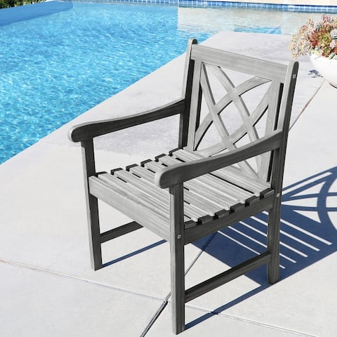 Surfside Eco-friendly Outdoor Hand-scraped Hardwood Garden Arm Chair by Havenside Home