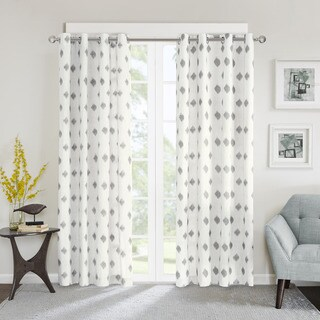 INK+IVY Ory Metallic Ikat Printed Curtain Panel
