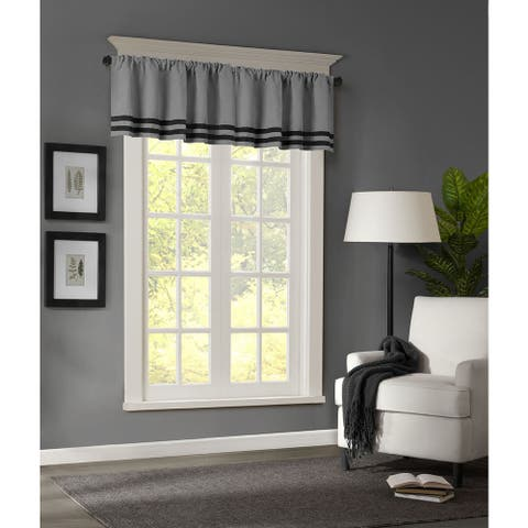 Madison Park Meyers Microsuede Striped Window Valance with Rod Pocket Top Finish