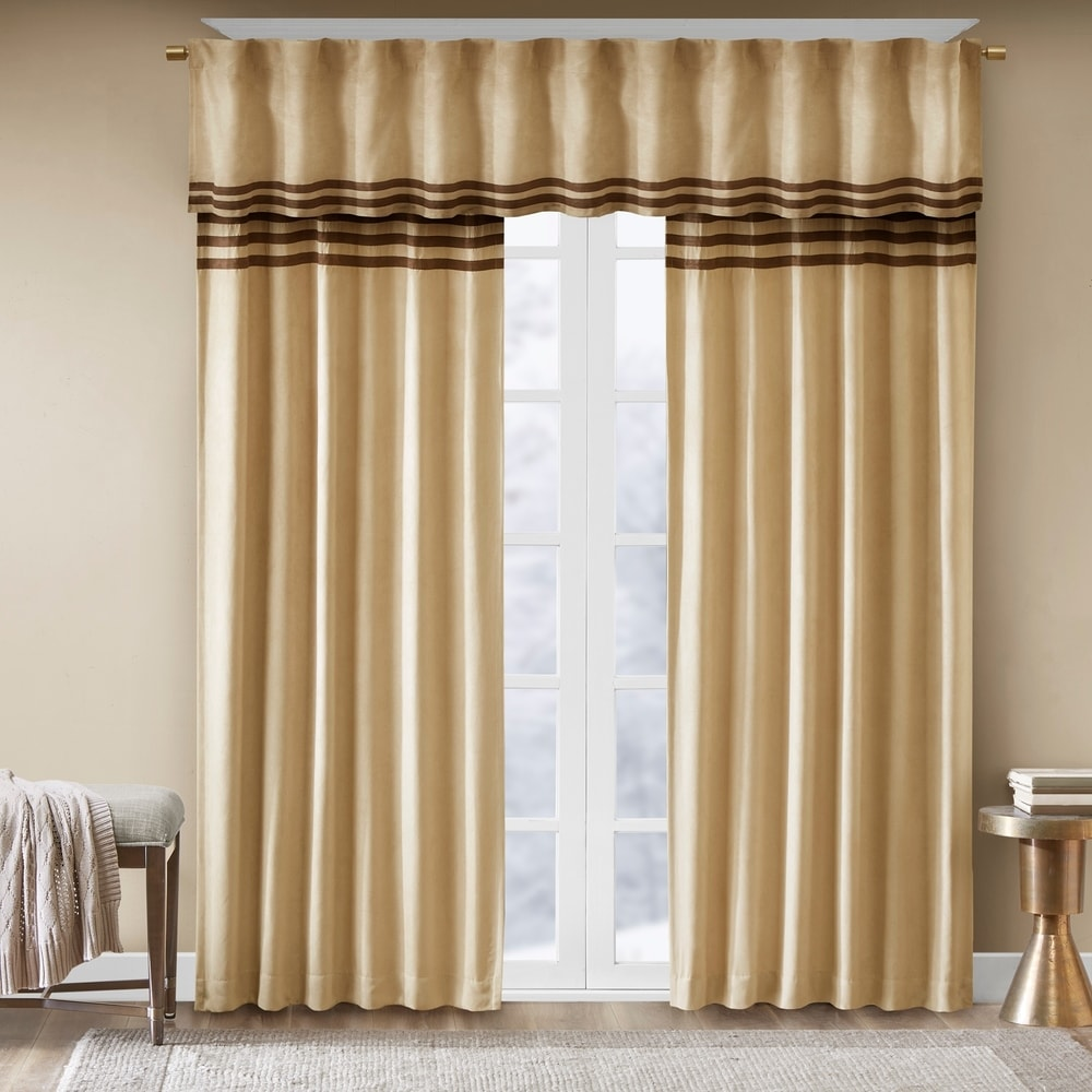 Shop Madison Park Meyers Microsuede Striped Window Valance with Rod Pocket Top Finish - 11169266