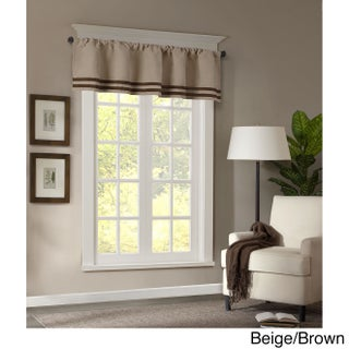 Madison Park Meyers Microsuede Striped Window Valance with Rod Pocket Top Finish (Option: Beige/Brown)