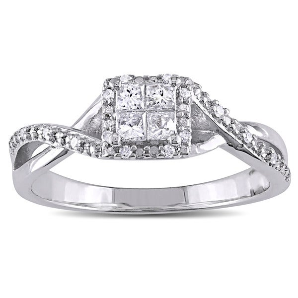 Miadora Sterling Silver 1/4ct TDW Princess-cut Diamond Crossover Halo Engagement Ring