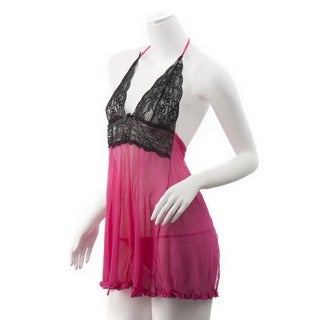 Zodaca Women's Hot Pink Lace Dress Lingerie Underwear Sleepwear with G string