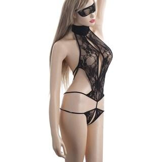 Zodaca Women's Black Lace Piece Suit Underwear Lingerie with Eye Mask