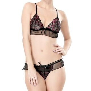 Zodaca Women's Black/ Pink Sexy Flower Lace Leather Bikini Underwear Sleepwear