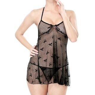 Zodaca Women's Black Sexy Lace Ribbon Dress Lingerie Underwear Sleepwear with G String