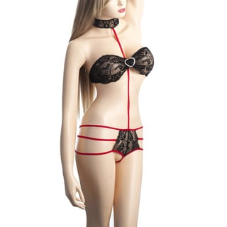 Zodaca Women's Black/ Red Sexy Hot Lingerie Lace Piece Suit Underwear Sleepwear