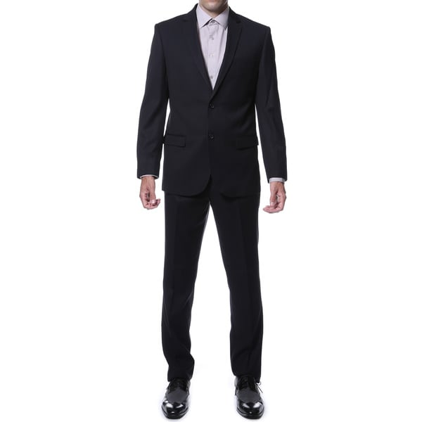 Ferrecci Mens Ernesto Black Pinstripe Slim Fit 2-Piece Suit