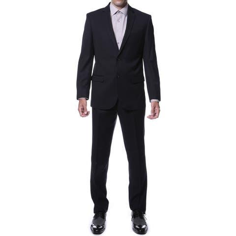 Ferrecci Men's Ernesto Black Pinstripe Slim Fit 2-Piece Suit