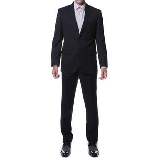 Ferrecci Men's Ernesto Black Pinstripe Slim Fit 2-Piece Suit