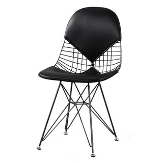 M245 Chair In Polished Nickel And Black Vegan Leather (Set of Two)